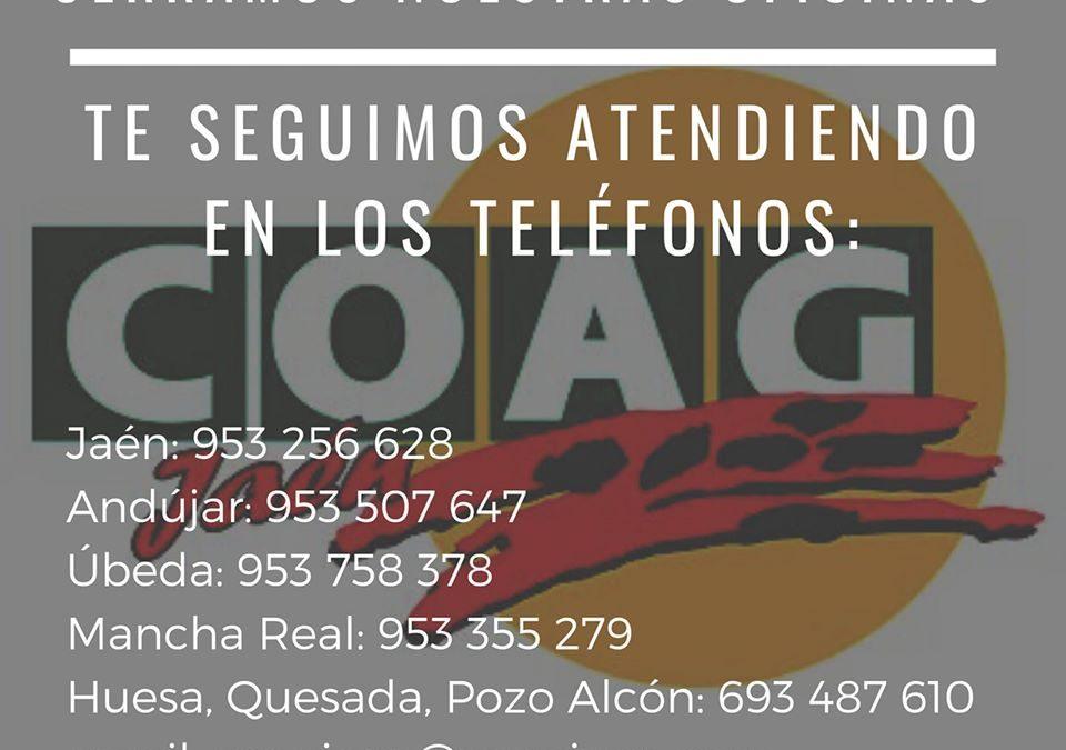 Cerramos nuestras oficinas, por el coronavirus, pero te seguimos atendiendo en los siguientes teléfonos