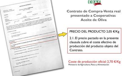 COAG denuncia coacciones a cooperativas para que vendan su aceite por debajo de coste
