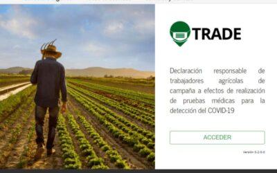 """Activan el sistema """"Trade"""" para dar de alta a temporeros y planificar los test COVID-19"""